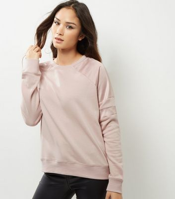 Shell Pink Sateen Stripe Sleeve Sweater - neckline: round neck; pattern: plain; style: standard; predominant colour: blush; occasions: casual, creative work; length: standard; fibres: polyester/polyamide - mix; fit: standard fit; sleeve length: long sleeve; sleeve style: standard; texture group: knits/crochet; pattern type: knitted - fine stitch; wardrobe: basic; season: a/w 2016