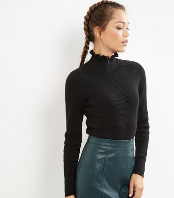 Black Frill Trim Funnel Neck Top - pattern: plain; neckline: high neck; style: t-shirt; predominant colour: black; occasions: casual, creative work; length: standard; fibres: polyester/polyamide - stretch; fit: tight; sleeve length: long sleeve; sleeve style: standard; texture group: jersey - clingy; pattern type: fabric; season: a/w 2016