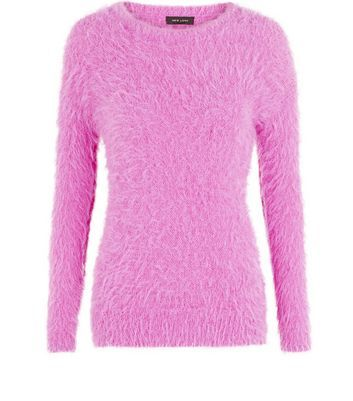 Pink Fluffy Jumper - pattern: plain; style: standard; predominant colour: magenta; occasions: casual, creative work; length: standard; fibres: acrylic - mix; fit: standard fit; neckline: crew; sleeve length: long sleeve; sleeve style: standard; texture group: knits/crochet; pattern type: knitted - other; season: a/w 2016; wardrobe: highlight