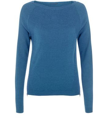Navy Ribbed Zip Hem Jumper - neckline: slash/boat neckline; pattern: plain; style: standard; predominant colour: teal; occasions: casual, creative work; length: standard; fibres: cotton - mix; fit: standard fit; sleeve length: long sleeve; sleeve style: standard; texture group: knits/crochet; pattern type: knitted - fine stitch; season: a/w 2016