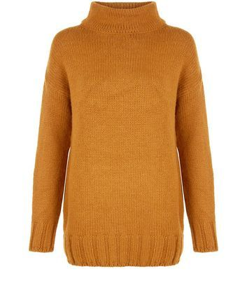 Tan Funnel Neck Longline Jumper - pattern: plain; length: below the bottom; neckline: roll neck; style: standard; predominant colour: tan; occasions: casual, creative work; fibres: acrylic - mix; fit: loose; sleeve length: long sleeve; sleeve style: standard; texture group: knits/crochet; pattern type: knitted - other; season: a/w 2016; wardrobe: highlight