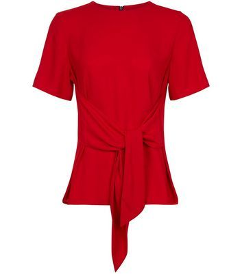 Red Tie Front Short Sleeve Top - pattern: plain; waist detail: belted waist/tie at waist/drawstring; predominant colour: true red; length: standard; style: top; fibres: polyester/polyamide - 100%; fit: tailored/fitted; neckline: crew; sleeve length: short sleeve; sleeve style: standard; texture group: crepes; pattern type: fabric; occasions: creative work; season: a/w 2016; wardrobe: highlight