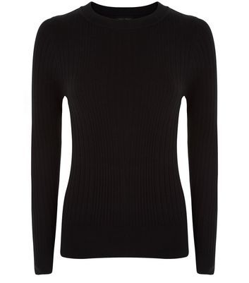 Petite Black Ribbed Long Sleeve Top - pattern: plain; style: t-shirt; predominant colour: black; occasions: casual, creative work; length: standard; fibres: polyester/polyamide - stretch; fit: body skimming; neckline: crew; sleeve length: long sleeve; sleeve style: standard; texture group: jersey - clingy; pattern type: fabric; wardrobe: basic; season: a/w 2016