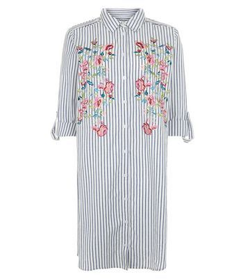 White Stripe Floral Embroidered Longline Shirt - neckline: shirt collar/peter pan/zip with opening; pattern: striped; style: shirt; secondary colour: pink; predominant colour: pale blue; occasions: casual; fibres: cotton - 100%; fit: loose; length: mid thigh; sleeve length: 3/4 length; sleeve style: standard; texture group: cotton feel fabrics; pattern type: fabric; embellishment: embroidered; pattern size: big & busy (top); season: a/w 2016; wardrobe: highlight