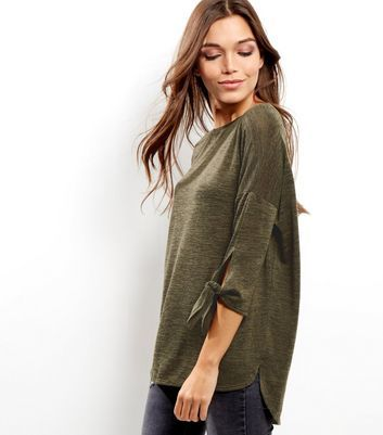 Khaki Tie Sleeve Top - neckline: round neck; pattern: plain; length: below the bottom; predominant colour: khaki; occasions: casual, creative work; style: top; fibres: polyester/polyamide - stretch; fit: loose; sleeve length: 3/4 length; sleeve style: standard; pattern type: fabric; texture group: jersey - stretchy/drapey; wardrobe: basic; season: a/w 2016