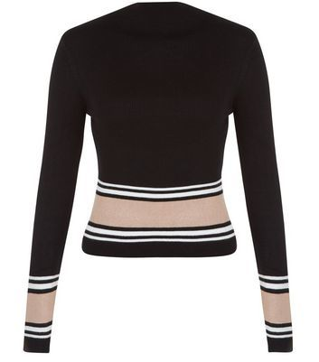 Black Colour Block Crew Neck Jumper - pattern: horizontal stripes; neckline: high neck; style: standard; secondary colour: stone; predominant colour: black; occasions: casual, work, creative work; length: standard; fibres: acrylic - mix; fit: slim fit; sleeve length: long sleeve; sleeve style: standard; texture group: corduroy; pattern type: fabric; pattern size: standard; season: a/w 2016; wardrobe: highlight