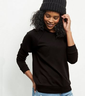 Black Ribbed Shoulder Sweater - neckline: round neck; pattern: plain; style: standard; predominant colour: black; occasions: casual, work, creative work; length: standard; fibres: cotton - mix; fit: standard fit; sleeve length: long sleeve; sleeve style: standard; texture group: knits/crochet; pattern type: knitted - fine stitch; wardrobe: basic; season: a/w 2016