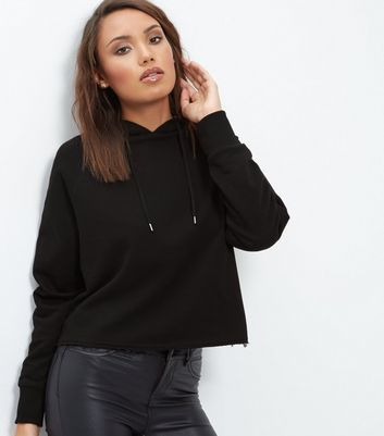 Black Cropped Hoodie - pattern: plain; neckline: high neck; back detail: hood; style: standard; predominant colour: black; occasions: casual, activity; length: standard; fibres: cotton - mix; fit: loose; sleeve length: long sleeve; sleeve style: standard; pattern type: fabric; texture group: jersey - stretchy/drapey; season: a/w 2016