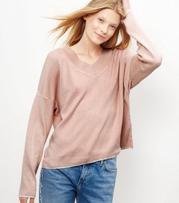 Shell Pink V Neck Jumper - neckline: v-neck; sleeve style: dolman/batwing; pattern: plain; style: standard; predominant colour: blush; occasions: casual, creative work; length: standard; fit: loose; sleeve length: long sleeve; texture group: knits/crochet; pattern type: knitted - fine stitch; fibres: viscose/rayon - mix; season: a/w 2016