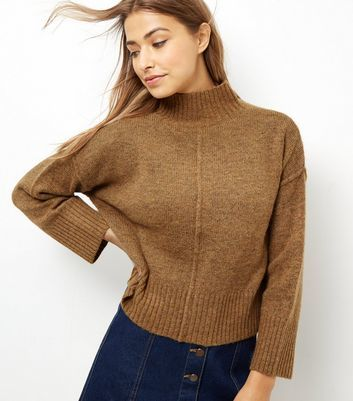 Mustard Wide Sleeve Turtle Neck Cropped Jumper - pattern: plain; neckline: high neck; style: standard; predominant colour: tan; occasions: casual, work, creative work; length: standard; fibres: polyester/polyamide - stretch; fit: standard fit; sleeve length: long sleeve; sleeve style: standard; texture group: knits/crochet; pattern type: knitted - fine stitch; season: a/w 2016; wardrobe: highlight