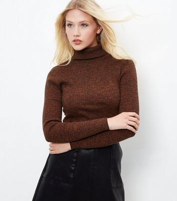 Brown Ribbed Turtle Neck Jumper - pattern: plain; neckline: roll neck; style: standard; predominant colour: chocolate brown; occasions: casual, work, creative work; length: standard; fibres: cotton - 100%; fit: slim fit; sleeve length: long sleeve; sleeve style: standard; texture group: knits/crochet; pattern type: knitted - fine stitch; wardrobe: basic; season: a/w 2016