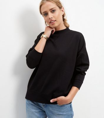 Black Balloon Sleeve Sweater - sleeve style: dolman/batwing; pattern: plain; style: sweat top; predominant colour: black; occasions: casual; length: standard; fibres: cotton - stretch; fit: loose; neckline: crew; sleeve length: long sleeve; pattern type: fabric; texture group: jersey - stretchy/drapey; wardrobe: basic; season: a/w 2016