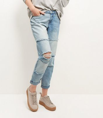 Light Blue Patchwork Ripped Knee Boyfriend Jeans - style: boyfriend; length: standard; pattern: plain; pocket detail: traditional 5 pocket; waist: mid/regular rise; predominant colour: pale blue; occasions: casual; fibres: cotton - stretch; jeans detail: washed/faded, rips; texture group: denim; pattern type: fabric; wardrobe: basic; season: a/w 2016