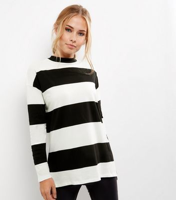 Black Wide Stripe Long Sleeve Step Hem T Shirt - sleeve style: dolman/batwing; pattern: horizontal stripes; length: below the bottom; style: t-shirt; secondary colour: white; predominant colour: black; occasions: casual, creative work; fibres: cotton - 100%; fit: loose; neckline: crew; sleeve length: long sleeve; pattern type: fabric; texture group: jersey - stretchy/drapey; pattern size: big & busy (top); wardrobe: basic; season: a/w 2016