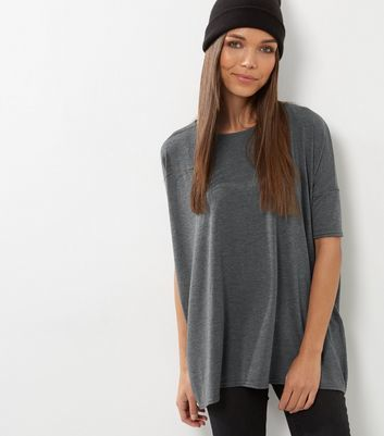 Dark Grey Oversized T Shirt - pattern: plain; length: below the bottom; style: t-shirt; predominant colour: charcoal; occasions: casual, creative work; fibres: cotton - stretch; fit: loose; neckline: crew; sleeve length: half sleeve; sleeve style: standard; pattern type: fabric; texture group: jersey - stretchy/drapey; wardrobe: basic; season: a/w 2016
