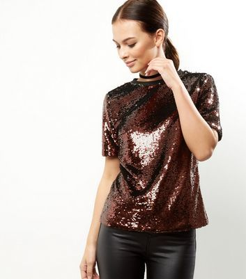 Anita And Green Bronze Sequin T Shirt - pattern: plain; style: t-shirt; predominant colour: chocolate brown; occasions: evening; length: standard; fibres: polyester/polyamide - 100%; fit: straight cut; neckline: crew; sleeve length: short sleeve; sleeve style: standard; texture group: crepes; pattern type: fabric; season: a/w 2016; wardrobe: event