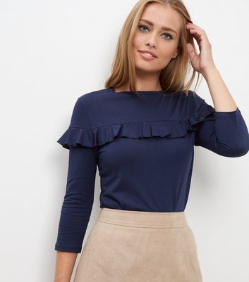 Navy Frill Trim 3/4 Sleeve Top - pattern: plain; style: t-shirt; predominant colour: navy; occasions: casual, creative work; length: standard; fibres: polyester/polyamide - stretch; fit: body skimming; neckline: crew; sleeve length: 3/4 length; sleeve style: standard; texture group: jersey - clingy; bust detail: tiers/frills/bulky drapes/pleats; pattern type: fabric; season: a/w 2016; wardrobe: highlight