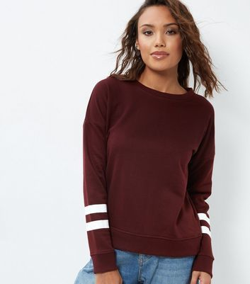 Burgundy Stripe Sleeve Sweater - neckline: round neck; pattern: striped; style: standard; secondary colour: white; predominant colour: burgundy; occasions: casual, creative work; length: standard; fibres: polyester/polyamide - mix; fit: standard fit; sleeve length: long sleeve; sleeve style: standard; texture group: knits/crochet; pattern type: knitted - fine stitch; pattern size: light/subtle; season: a/w 2016; wardrobe: highlight