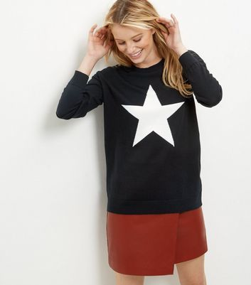 Black Star Print Jumper - neckline: round neck; style: standard; secondary colour: white; predominant colour: black; occasions: casual, creative work; length: standard; fibres: polyester/polyamide - mix; fit: standard fit; sleeve length: long sleeve; sleeve style: standard; texture group: knits/crochet; pattern type: knitted - fine stitch; pattern size: standard; pattern: patterned/print; season: a/w 2016; wardrobe: highlight