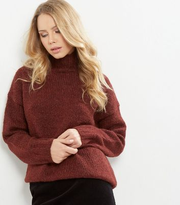 Burgundy Turtle Neck Jumper - pattern: plain; neckline: roll neck; style: standard; predominant colour: burgundy; occasions: casual, work, creative work; length: standard; fibres: polyester/polyamide - mix; fit: loose; sleeve length: long sleeve; sleeve style: standard; texture group: knits/crochet; pattern type: knitted - other; season: a/w 2016; wardrobe: highlight