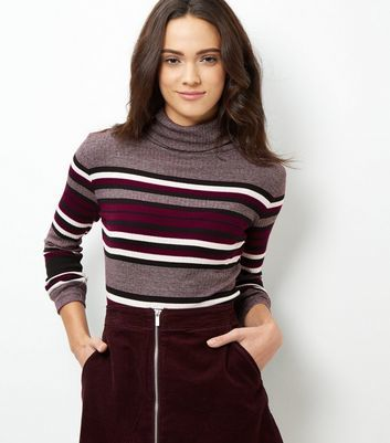Purple Stripe Long Sleeve Turtle Neck Jumper - pattern: horizontal stripes; neckline: roll neck; style: standard; secondary colour: burgundy; predominant colour: purple; occasions: casual, work, creative work; length: standard; fibres: cotton - mix; fit: slim fit; sleeve length: long sleeve; sleeve style: standard; texture group: knits/crochet; pattern type: knitted - fine stitch; pattern size: standard; multicoloured: multicoloured; season: a/w 2016; wardrobe: highlight