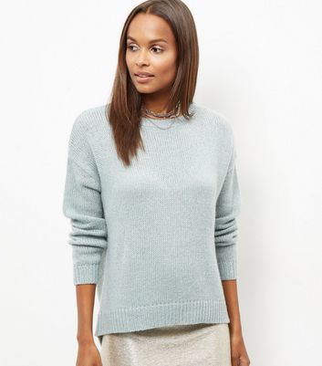 Light Green Boxy Jumper - neckline: round neck; pattern: plain; style: standard; predominant colour: pale blue; occasions: casual, work, creative work; length: standard; fibres: acrylic - 100%; fit: standard fit; sleeve length: long sleeve; sleeve style: standard; texture group: knits/crochet; pattern type: knitted - fine stitch; season: a/w 2016