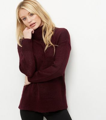 Burgundy Turtle Neck Jumper - pattern: plain; length: below the bottom; neckline: roll neck; style: standard; predominant colour: burgundy; occasions: casual, creative work; fibres: acrylic - 100%; fit: standard fit; sleeve length: long sleeve; sleeve style: standard; texture group: knits/crochet; pattern type: knitted - fine stitch; season: a/w 2016; wardrobe: highlight