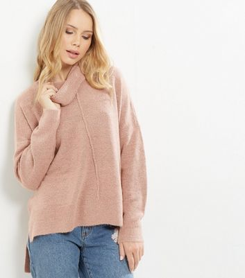 Mid Pink Cowl Neck Step Hem Jumper - neckline: cowl/draped neck; pattern: plain; style: standard; predominant colour: blush; occasions: casual, creative work; length: standard; fibres: acrylic - mix; fit: loose; sleeve length: long sleeve; sleeve style: standard; texture group: knits/crochet; pattern type: knitted - fine stitch; wardrobe: basic; season: a/w 2016