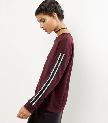 Burgundy Tape Sleeve Sweater - neckline: round neck; pattern: striped; style: standard; secondary colour: white; predominant colour: burgundy; occasions: casual, creative work; length: standard; fibres: polyester/polyamide - stretch; fit: standard fit; sleeve length: long sleeve; sleeve style: standard; texture group: knits/crochet; pattern type: knitted - fine stitch; pattern size: standard; season: a/w 2016; wardrobe: highlight
