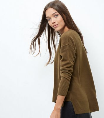 Khaki Ribbed Trim Boxy Jumper - neckline: round neck; pattern: plain; style: standard; predominant colour: khaki; occasions: casual, creative work; length: standard; fibres: acrylic - 100%; fit: loose; back detail: longer hem at back than at front; sleeve length: long sleeve; sleeve style: standard; texture group: knits/crochet; pattern type: knitted - fine stitch; wardrobe: basic; season: a/w 2016