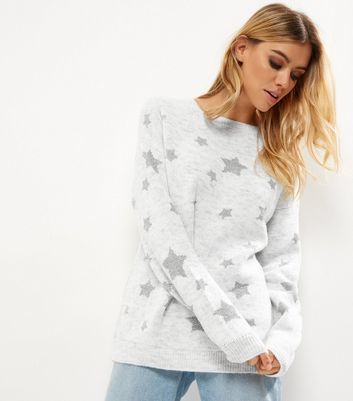 Light Grey Metallic Star Print Jumper - neckline: round neck; length: below the bottom; style: standard; secondary colour: mid grey; predominant colour: light grey; occasions: casual, creative work; fibres: acrylic - mix; fit: loose; sleeve length: long sleeve; sleeve style: standard; texture group: knits/crochet; pattern type: knitted - fine stitch; pattern size: standard; pattern: patterned/print; season: a/w 2016; wardrobe: highlight