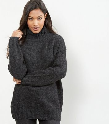 Dark Grey Turtle Neck Jumper - pattern: plain; length: below the bottom; neckline: roll neck; style: standard; predominant colour: charcoal; occasions: casual, creative work; fibres: polyester/polyamide - mix; fit: loose; sleeve length: long sleeve; sleeve style: standard; texture group: knits/crochet; pattern type: knitted - fine stitch; wardrobe: basic; season: a/w 2016