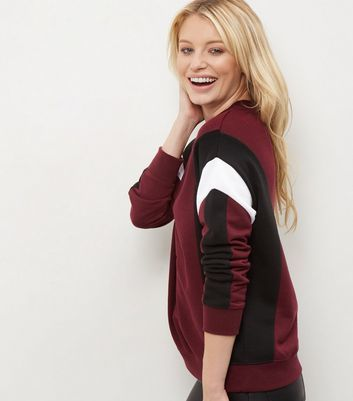 Red Colour Block Funnel Neck Sweater - neckline: high neck; length: below the bottom; style: standard; secondary colour: white; predominant colour: burgundy; occasions: casual, creative work; fibres: polyester/polyamide - mix; fit: loose; sleeve length: long sleeve; sleeve style: standard; texture group: knits/crochet; pattern type: knitted - fine stitch; pattern size: standard; pattern: colourblock; season: a/w 2016; wardrobe: highlight