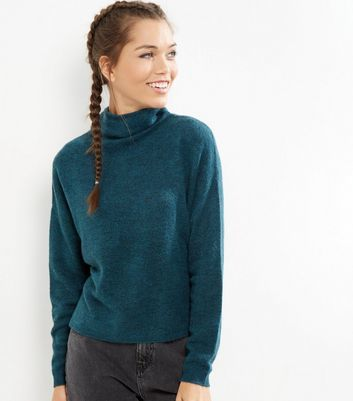 Blue Funnel Neck Cropped Jumper - pattern: plain; neckline: wide roll/funnel neck; style: standard; predominant colour: teal; occasions: casual, work, creative work; length: standard; fibres: acrylic - mix; fit: standard fit; sleeve length: long sleeve; sleeve style: standard; texture group: knits/crochet; pattern type: knitted - fine stitch; season: a/w 2016; wardrobe: highlight