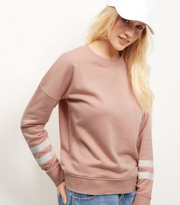 Mid Pink Stripe Print Sleeve Sweater - neckline: round neck; pattern: striped; style: standard; predominant colour: blush; occasions: casual, work, creative work; length: standard; fibres: polyester/polyamide - mix; fit: standard fit; sleeve length: long sleeve; sleeve style: standard; texture group: knits/crochet; pattern type: knitted - fine stitch; pattern size: light/subtle; season: a/w 2016
