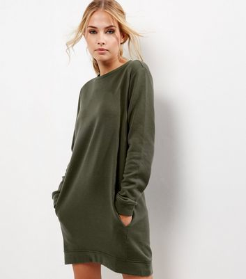 Khaki Long Sleeve Longline Sweater - neckline: round neck; pattern: plain; style: standard; predominant colour: khaki; occasions: casual, creative work; fibres: polyester/polyamide - mix; fit: loose; length: mid thigh; hip detail: subtle/flattering hip detail; sleeve length: long sleeve; sleeve style: standard; texture group: knits/crochet; pattern type: knitted - fine stitch; wardrobe: basic; season: a/w 2016