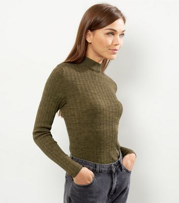 Olive Green Ribbed Funnel Neck Cropped Jumper - pattern: plain; neckline: high neck; style: standard; predominant colour: khaki; occasions: casual, work, creative work; length: standard; fibres: cotton - mix; fit: slim fit; sleeve length: long sleeve; sleeve style: standard; texture group: knits/crochet; pattern type: knitted - fine stitch; wardrobe: basic; season: a/w 2016