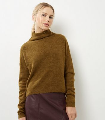 Olive Green Funnel Neck Cropped Jumper - sleeve style: dolman/batwing; pattern: plain; neckline: high neck; style: standard; predominant colour: khaki; occasions: casual, creative work; length: standard; fibres: acrylic - 100%; fit: standard fit; sleeve length: long sleeve; texture group: knits/crochet; pattern type: knitted - fine stitch; wardrobe: basic; season: a/w 2016