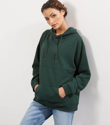 Dark Green Oversized Seam Trim Hoodie - pattern: plain; length: below the bottom; predominant colour: dark green; occasions: casual; fibres: cotton - mix; fit: loose; neckline: crew; sleeve length: long sleeve; sleeve style: standard; pattern type: fabric; texture group: jersey - stretchy/drapey; style: hoody; season: a/w 2016; wardrobe: highlight