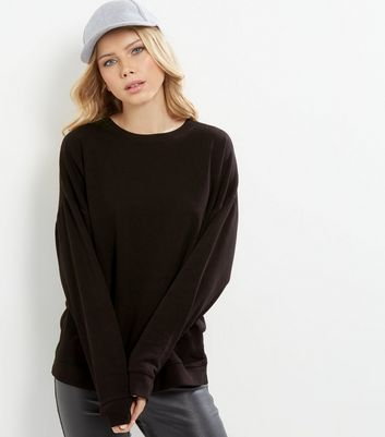 Black Round Neck Sweater - sleeve style: dolman/batwing; pattern: plain; length: below the bottom; style: sweat top; predominant colour: chocolate brown; occasions: casual; fibres: cotton - stretch; fit: loose; neckline: crew; sleeve length: long sleeve; pattern type: fabric; texture group: jersey - stretchy/drapey; wardrobe: basic; season: a/w 2016