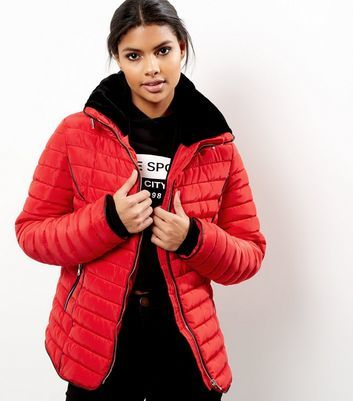 Red Padded Puffer Jacket - pattern: plain; length: standard; collar: funnel; fit: loose; predominant colour: true red; occasions: casual; fibres: polyester/polyamide - 100%; sleeve length: long sleeve; sleeve style: standard; texture group: technical outdoor fabrics; collar break: high; pattern type: fabric; style: puffa; season: a/w 2016; wardrobe: highlight