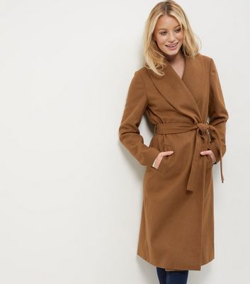 Light Brown Belted Longline Coat - pattern: plain; style: wrap around; fit: slim fit; collar: standard lapel/rever collar; predominant colour: tan; occasions: casual; fibres: polyester/polyamide - stretch; length: below the knee; waist detail: belted waist/tie at waist/drawstring; sleeve length: long sleeve; sleeve style: standard; collar break: medium; pattern type: fabric; texture group: woven bulky/heavy; season: a/w 2016; wardrobe: highlight