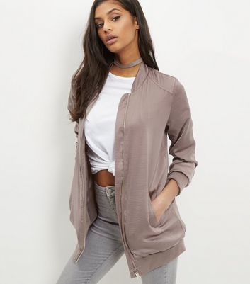 Gold Sateen Longline Bomber Jacket - pattern: plain; collar: round collar/collarless; fit: loose; length: below the bottom; style: bomber; predominant colour: stone; occasions: casual; fibres: polyester/polyamide - 100%; sleeve length: long sleeve; sleeve style: standard; texture group: structured shiny - satin/tafetta/silk etc.; collar break: high; pattern type: fabric; wardrobe: basic; season: a/w 2016