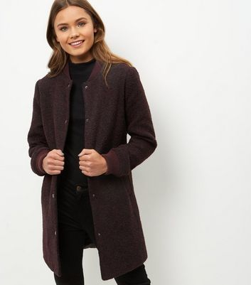 Burgundy Flecked Longline Bomber Jacket - pattern: plain; collar: round collar/collarless; style: bomber; predominant colour: navy; occasions: casual, creative work; fit: straight cut (boxy); fibres: wool - mix; length: mid thigh; sleeve length: long sleeve; sleeve style: standard; collar break: high; pattern type: fabric; texture group: woven light midweight; wardrobe: basic; season: a/w 2016
