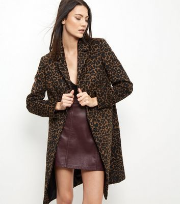 Brown Leopard Print Midi Coat - fit: loose; style: single breasted; length: on the knee; collar: standard lapel/rever collar; secondary colour: chocolate brown; predominant colour: camel; occasions: casual; fibres: polyester/polyamide - mix; sleeve length: long sleeve; sleeve style: standard; collar break: medium; pattern type: fabric; pattern: animal print; texture group: woven bulky/heavy; multicoloured: multicoloured; season: a/w 2016; wardrobe: highlight