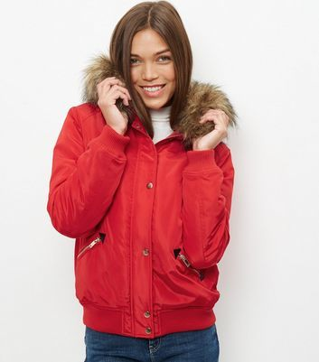 Red Padded Faux Fur Trim Hooded Bomber Jacket - pattern: plain; length: standard; collar: funnel; fit: loose; style: parka; back detail: hood; predominant colour: true red; occasions: casual; fibres: polyester/polyamide - 100%; sleeve length: long sleeve; sleeve style: standard; texture group: technical outdoor fabrics; collar break: high; pattern type: fabric; embellishment: fur; season: a/w 2016; wardrobe: highlight