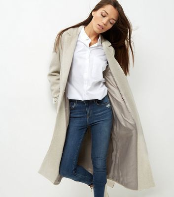 Cream Double Pocket Maxi Coat - pattern: plain; fit: loose; style: single breasted; length: calf length; predominant colour: stone; occasions: casual; fibres: polyester/polyamide - mix; collar: shirt collar/peter pan/zip with opening; sleeve length: long sleeve; sleeve style: standard; collar break: low/open; pattern type: fabric; texture group: woven bulky/heavy; wardrobe: basic; season: a/w 2016