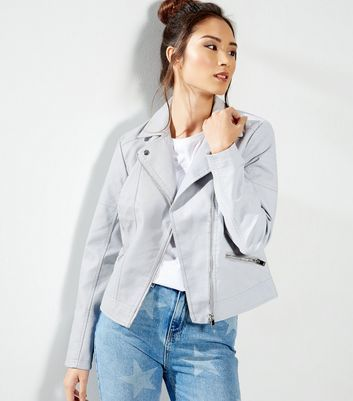 Pale Blue Leather Look Biker Jacket - pattern: plain; style: biker; collar: standard lapel/rever collar; predominant colour: pale blue; occasions: casual, creative work; length: standard; fit: straight cut (boxy); fibres: polyester/polyamide - 100%; sleeve length: long sleeve; sleeve style: standard; collar break: medium; pattern type: fabric; texture group: woven light midweight; season: a/w 2016
