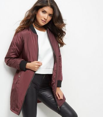 Burgundy Padded Longline Bomber Jacket - pattern: plain; collar: round collar/collarless; length: below the bottom; fit: slim fit; style: bomber; predominant colour: burgundy; secondary colour: black; occasions: casual; fibres: polyester/polyamide - 100%; sleeve length: long sleeve; sleeve style: standard; collar break: high; pattern type: fabric; texture group: other - light to midweight; multicoloured: multicoloured; season: a/w 2016