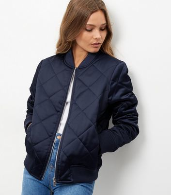 Navy Diamond Quilted Padded Bomber Jacket - pattern: plain; collar: round collar/collarless; fit: slim fit; style: bomber; predominant colour: navy; occasions: casual; length: standard; fibres: polyester/polyamide - stretch; sleeve length: long sleeve; sleeve style: standard; collar break: high; pattern type: fabric; texture group: other - bulky/heavy; wardrobe: basic; season: a/w 2016